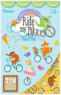 Darice 2 BOOKS of - RIDE My BIKE - Mini STICKERS (556 total stickers) Adorable ANIMALS on BICYCLES - Kid's ACTIVITY Craft Party FAVORS -Scrapbooking PARTY PROJECT