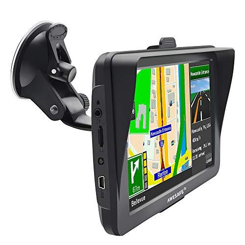 AWESAFE Sat Navs for Cars, 7 Inch Car Sat Nav GPS Navigation Includes Postcodes, Speed Camera Alerts, POI Lane Assistance, Truck Lorry Satnav with Sunshade