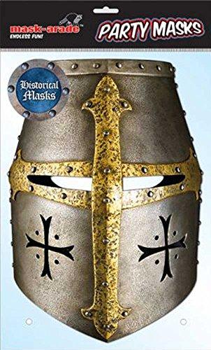 Historical Knight Ritter Masque en carton brillant haute qualité en carton avec trous pour les yeux et élastique 30 x 21 cm