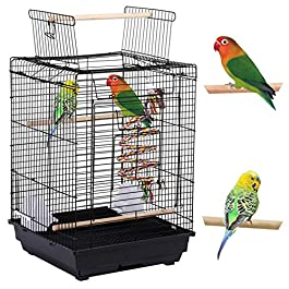 Yaheetech L40cm x W40cm x H58cm Bird Open Top Cage for Small Birds Canary Parakeet Cockatiel Budgie, Small Parrot Cage Travel Cage w/Open Play Top & Toy
