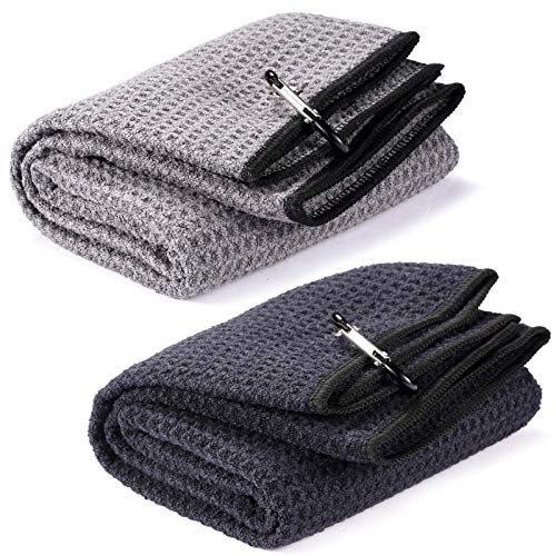 Fpxnb 2 Pack Tri-fold Golf Towel Set, Microfiber Fabric Waffle Pattern Towels, Heavy Duty Carabiner Clip (2 Pcs, 2 Colors)