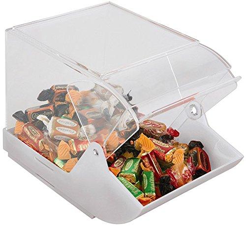 APS Universalbox, ideal als Verkaufsbox, mit Frontdeckel, transparente Box mit Deckel, stapelbare Schütte mit Deckel, 15,5 cm Höhe, weiß
