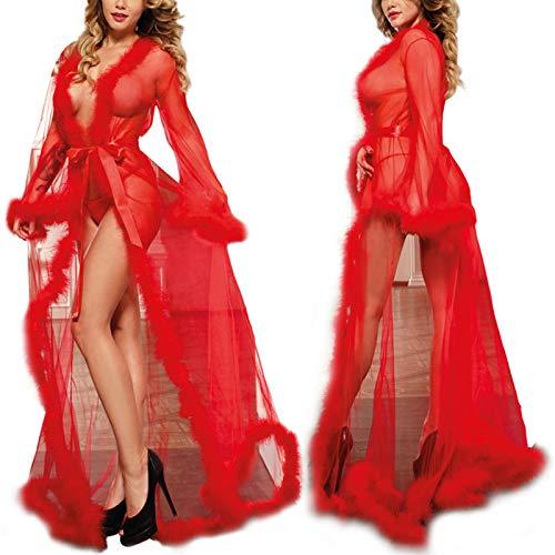 RICHBA Babydoll Lencería para mujer sexy camisones largos de tul con plumas de novia, bufanda de encaje, bata transparente exótica de malla frontal abierta