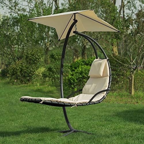 SoBuy OGS39-MI Schwebeliege mit Sonnenschirm Relaxliege Schwingliege Schaukelliege Hängesessel Hängeliege Sonnenliege Belastbarkeit 120kg beige BHT ca: 170x210x115cm - 4