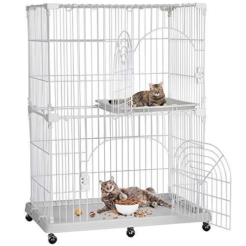 YAHEETECH 3-Tier Large Wire Pet Cat Kitten Cage Crate Playpen Enclosure