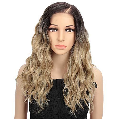 Style Icon Lace-Front-Perücke für hellhäutige Frauen, 45,7 cm, Ombré-Blonde, braune Haaransätze, hitzebeständige Faser, Kunsthaar-Perücke mit großem