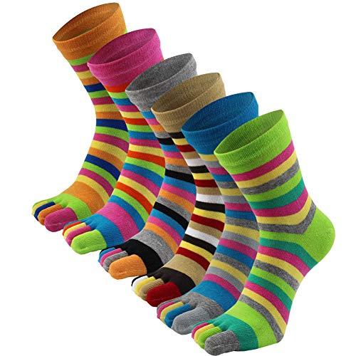 AIEOE 6 Paar Zehensocken Damen Mädchen Fünf Finger Baumwolle Sport Laufende Sneaker Socken Bunte Gestreift Sportsocken