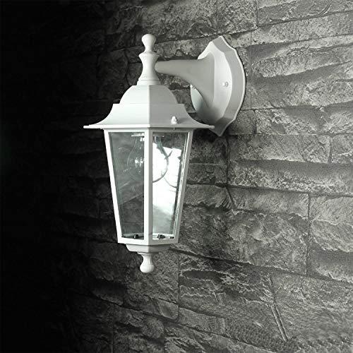 Außenlampe Wandleuchte PARIS Weiß hängend Alu Glas E27 T:22cm Beleuchtung Balkon Terrasse Hof Garten