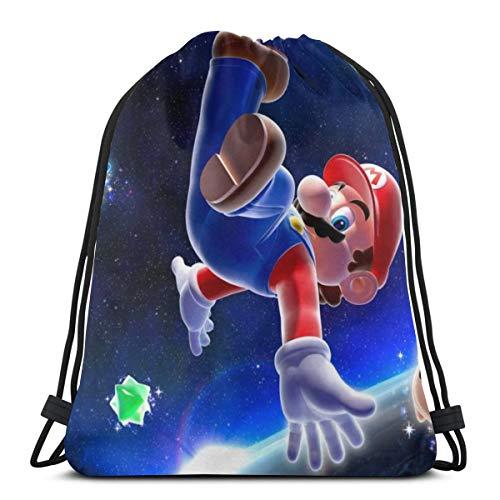 Paller Super Mario Kordelzug-Taschen, Turnbeutel, Sportsack, Rucksack, Polyestergewebe, Faltbeutel, Sportbeutel für Schule, Fitnessstudio, Reisen.