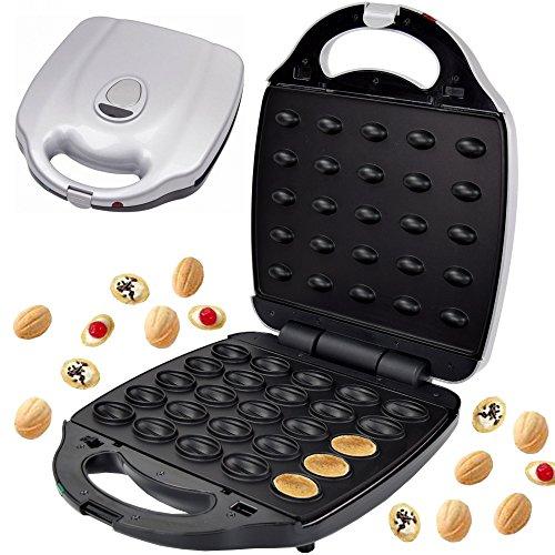 Syntrox Germany Chef Maker XXL 2000 Watt Nuss Waffeleisen - Nussbäcker für 25 Nusswaffeln Chef Maker mit herausnehmbaren und spülmaschinen geeigneten Wechselplatten