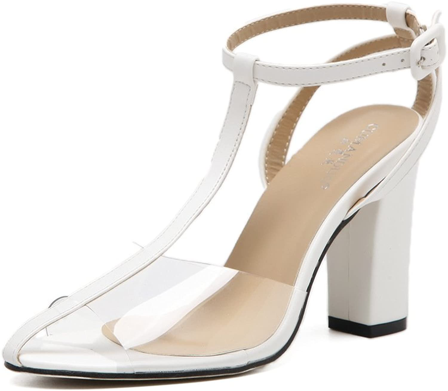 RUGAI-UE High heeled shoes, European and American toes, sandals and thick sandals.