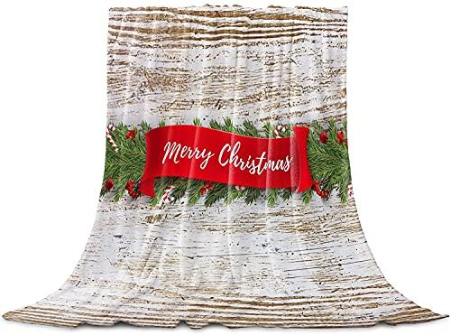 Manta decorativa de árbol de pino con cinta roja de Feliz Navidad, manta de forro polar de franela, acogedora y cálida manta ligera para mujeres, bebé - 40 x 50 pulgadas