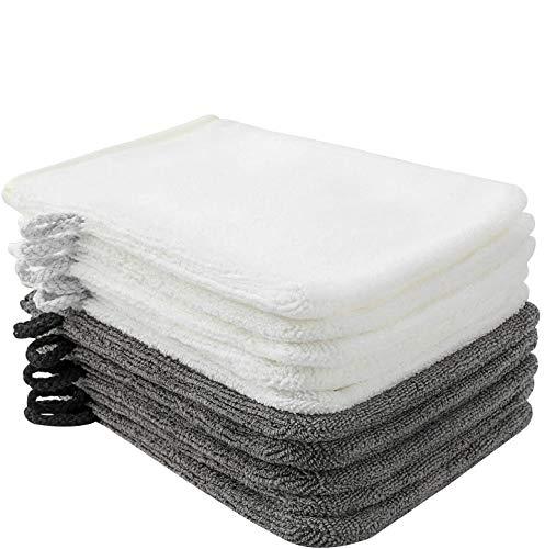 PHOGARY 10er Pack Waschlappen Waschhandschuh Seiftuch Abschminkhandschuhe mikrofaser 15 x 21 cm, dunkelgrau und weiß