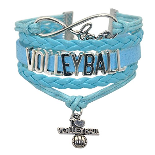 HHHbeauty Infinity Volleyball Bracelet Jewelry Girls Volleyball Charm Bracelet Friendship Gift for Women,Girls,Men,Boys,Teens Including Infinity Love Charm, Letters,Volleyball Charm (Blue)