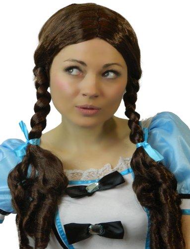Yummy Bee - Perruque Natte Brune Longue - Poupée Tressee Déguisement Femme - Dorothy le Magicien D'Oz Écolière