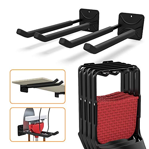 TORACK Garage Hooks Heavy Duty Tool Organizer, Wall Mount Hanger Rack Garage Storage Utility Hooks for Car Tires, Ladders, Chairs, Strollers, Power Tools, Garden Tools (2 Pack, 12.4' Hooks)