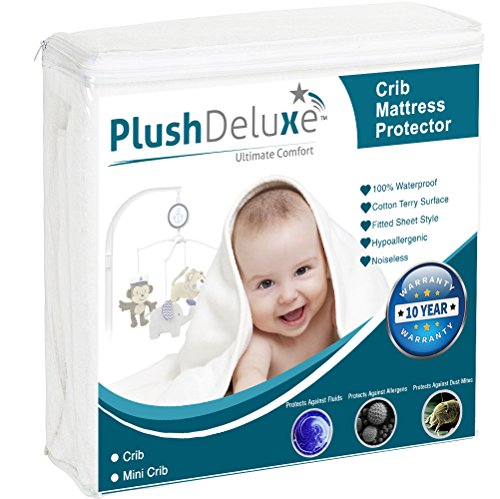 PlushDeluxe Mini Crib Size Premium Waterproof Mattress Protector Hypoallergenic Breathable Soft Cotton Terry Surface