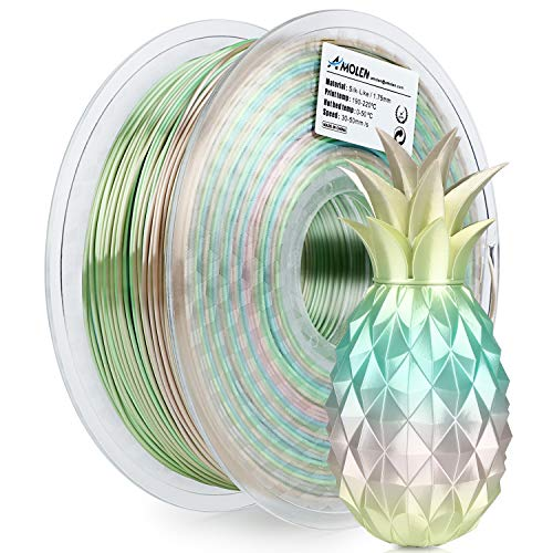 AMOLEN PLA Filamento Impresora 3D 1.75mm Seda Rainbow Multicolor 1KG,+/- 0.03mm Materiales de Impresión 3D para Impresora 3D y Lápiz 3D
