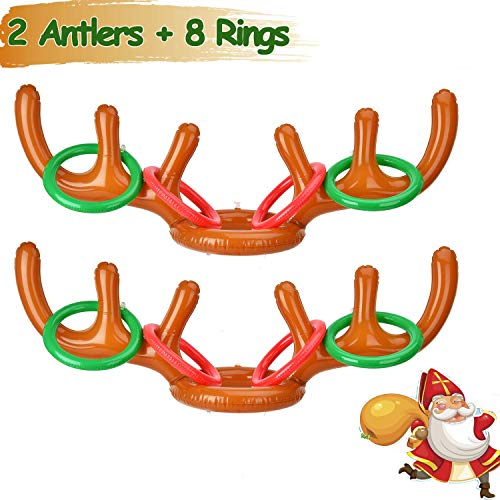 2 Pack Christmas Party Game Antler Ring Toss Game Inflatable Reindeer Antler Ring Toss Game for Christmas Party Christmas Toss Game Dress Up Toys for Kids Christmas Gifts