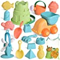 FunLittleToy Kids Beach Sand Toy Set, Beach Bucket, Car, Watering Can, Shovel, Rake and Sand Castle Building Kit, Eco-Friendly Kids Outdoor Toys Sandbox Toys 17 Piece