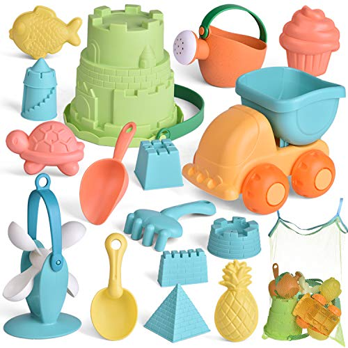 FUN LITTLE TOYS Kids Beach Sand Toy Set Beach Bucket Car Watering Can Shovel Rake and Sand Castle Building Kit EcoFriendly Kids Outdoor Toys Sandbox Toys 17 Piece