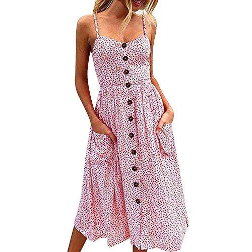 Fannyfuny Damen Sexy Sleeveless Einfarbig mit Bowknot Spitze Spaghetti-Armband Kleider Frau Casual Freizeit Kleider Sommerkleider Strandkleider Elegant Cocktail Kleider Party Kleider