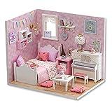 CUTEROOM DIY Maison de poupée en Bois Fait à la Main Miniature kit - Sunshine Princess Chambre à Coucher modèle et Meubles