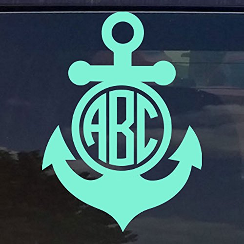 """Eggleston Design Co Custom Circle Anchor Monogram Initials Sticker Decal for Tumbler Cups, Laptops, Car Windows (fits Yeti and RTIC Cups) (14 Colors) (3"""" (Recommended for Cups))"""