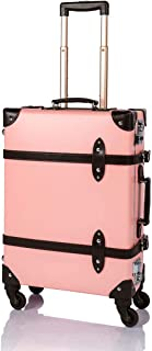 """COTRUNKAGE Spinner Vintage Luggage Pasco Carry On Suitcase with TSA Lock (20"""", Pink/Brown)"""