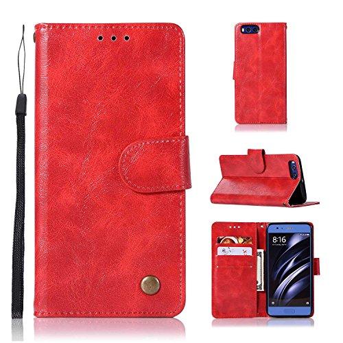 pinlu Custodia per Xiaomi Mi6 Pratico Vintage PU Pelle Flip Cover con Funzione di Appoggio con Magnetico Snap-on Disegno Cavallo Pazzo Modello Rosso