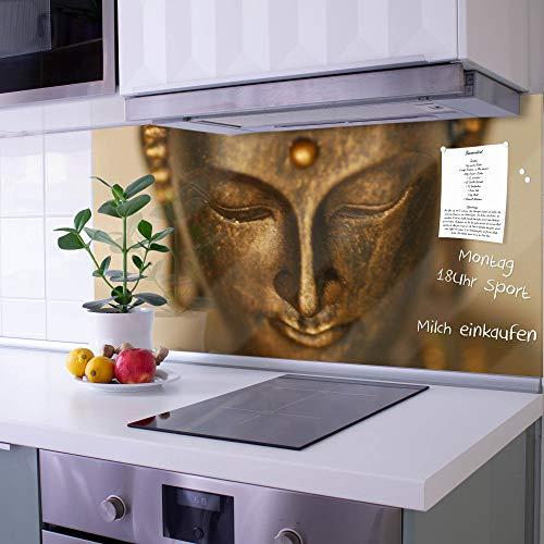 banjado Glas Spritzschutz für Küche und Herd | Küchenrückwand mit Motiv Buddha Gold | Glasrückwand selbstklebend ohne Bohren | Küchenspiegel magnetisch und beschreibbar (100x50cm)