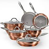 COOKSMARK 10-Piece Diamond Nonstick Ceramic Induction Cookware Set Scratch-Resistant Pots and Pans...