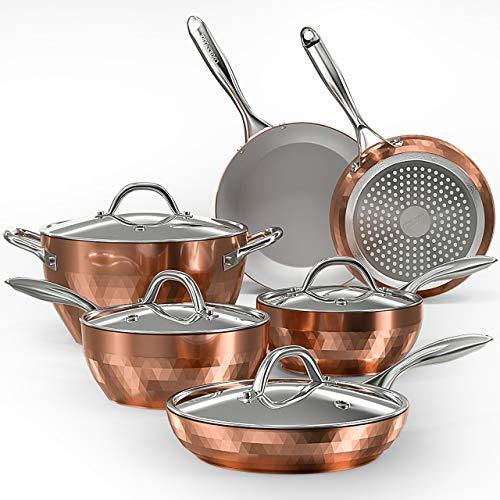 COOKSMARK 10-Piece Diamond Nonstick Ceramic Induction Cookware Set Scratch-Resistant Pots and Pans Set with Lids Dishwasher Suitable Oven Suitable Copper
