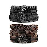 HZMAN Genuine Leather Tree of life Bracelets Men Women, Tiger Eye Natural Stone Lava Rock Beads Ethnic Tribal Elastic Bracelets Wristbands (2Pcs)