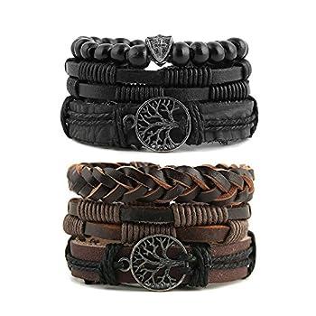 HZMAN Genuine Leather Tree of life Bracelets Men Women Tiger Eye Natural Stone Lava Rock Beads Ethnic Tribal Elastic Bracelets Wristbands  2Pcs