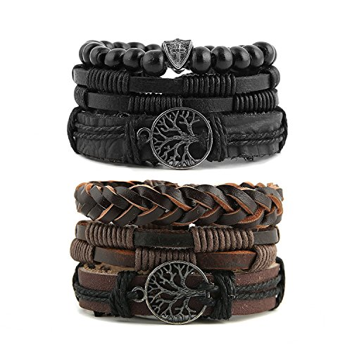 HZMAN Genuine Leather Tree of life Bracelets Men Women, Tiger Eye Natural Stone Lava Rock Beads Ethnic Tribal Elastic Bracelets Wristbands (2Pcs)