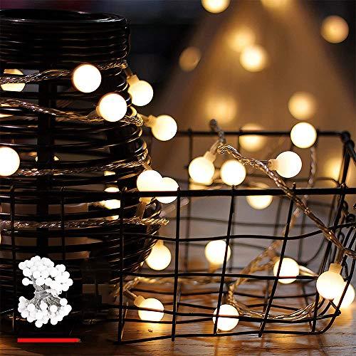 Leds Globe Lichterkette, Partybeleuchtung Außen,Warmweiße Kugel Lichterkette, Ideal Weihnachtsbeleuchtung für Innen, Zimmer (Warm White, 3m/ 20 Lichter/USB)