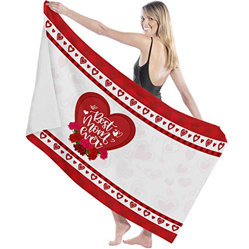 """COLORSUM Super Soft Bath Towels Mother's Day Love Heart Carnation Best Mom Ever On Red Plaid Extra Absorbent and Fast Drying Bath Towels,Quality Machine Wash Bathroom,Beach Towel 27""""×55"""""""