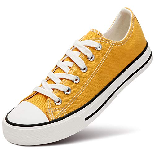 ZGR Women's Canvas Low Top Sneaker Lace-up Classic Casual Shoes(Yellow,US9)