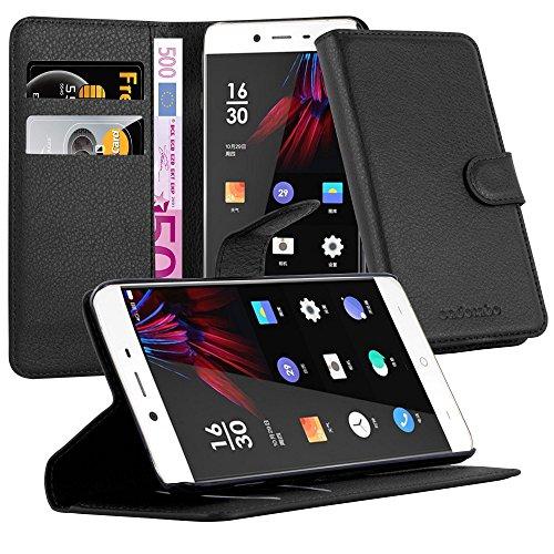 Cadorabo Hülle für OnePlus X - Hülle in Phantom SCHWARZ – Handyhülle mit Kartenfach und Standfunktion - Case Cover Schutzhülle Etui Tasche Book Klapp Style