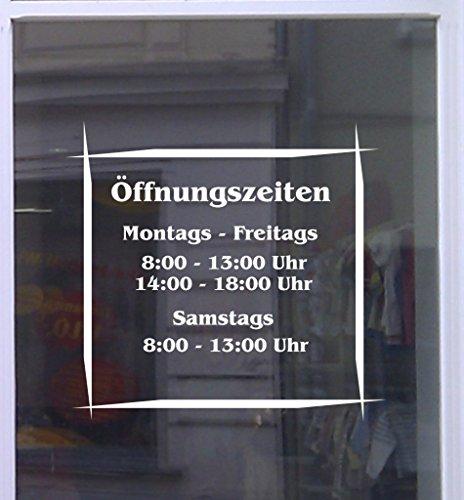 Öffnungszeiten Asia Schaufensterbeschriftung Aufkleber Werbung Laden Geschäft Breite 30 cm Weiß