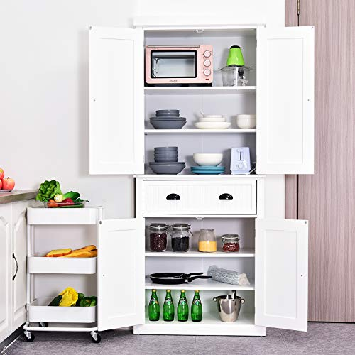 HOMCOM 72 Tall Colonial Style Free Standing Kitchen Pantry Storage Cabinet - White