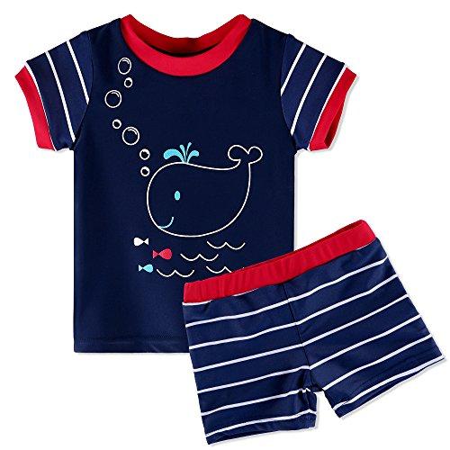 HUAANIUE Baby Schwimmbekleidung~Kinder Badeanzug UV-Schutz Bade-Set Maritim,Dunkelblau,4A