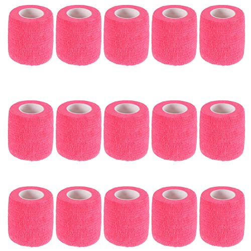 "KISEER 15 Pack 2"" x 5 Yards Self Adhesive Bandage Breathable Cohesive Bandage Wrap Rolls Elastic Self-Adherent Tape for Stretch Athletic, Sports, Wrist, Ankle (Pink)"