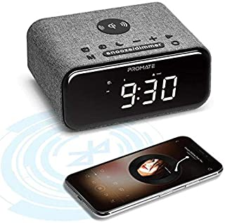 Promate Cayam Qi-Certified Wireless Charger Speaker, Multi-Function HD Bluetooth Speaker with LED Digital Alarm Clock, Bui...