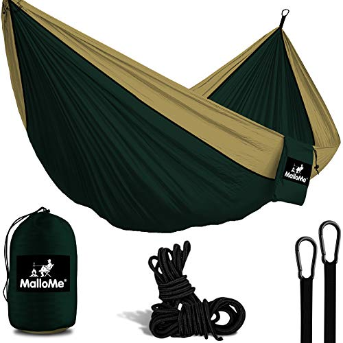XL Double Parachute Camping Hammock - Tree Portable with Max 1000 lbs Capacity - Lightweight Carabiners and Ropes Included for Backpacking, Camping, Hiking, Travel, Beach, Yard, 10 ft x 6.5 ft