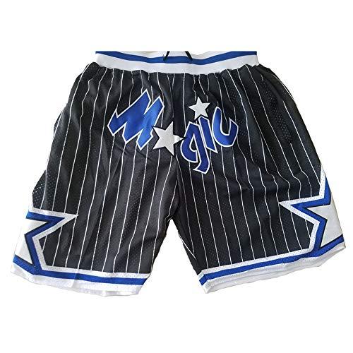 XWNZ Herren Basketball Shorts, Orlando Magic Jugend Jogginghose Unisex Stickerei Mesh Basketball Swingman Jersey Kann wiederholt gewaschen Werden-Black-S