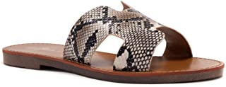 SL-Greece Women's Open Toe Flat Sandals Slides Slip on Shoes for Summer