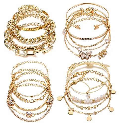 VELESAY 18PCS Oro Cadena Pulsera para Mujer Niña Set Cadena 18K Pulsera Boho Juego de Pulseras Oro Lote Joyería