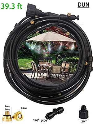 DUN Outdoor Misting Cooling System 39.3FT(12m) Misters Cooling Kit Whit 16 Copper Nozzles and A Connector(3/4) for Patio Misting System Fan Outdoor Mist Kit Canopy Misting System Garden Irrigation